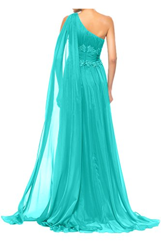 Sunvary alta cintura a-line One Shoulder gasa Party vestidos dama de honor Ink Blue