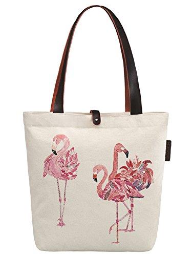 So'each Women's Three Flamingos Love Print Canvas & Beach Tote Bag Handbags