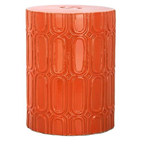 Safavieh Castle Gardens Collection Melody Orange Glazed Ceramic Garden Stool