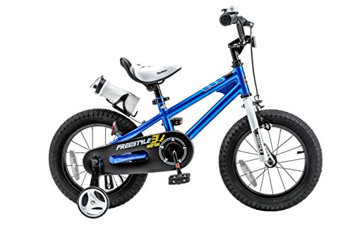 Royalbaby Freestyle Kid's Bike, 14 inch with Training Wheels, Blue, Gift for Boys and Girls