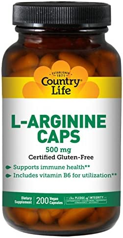 Country Life L-Arginine, 500 mg with B-6-200 Vegan Capsules