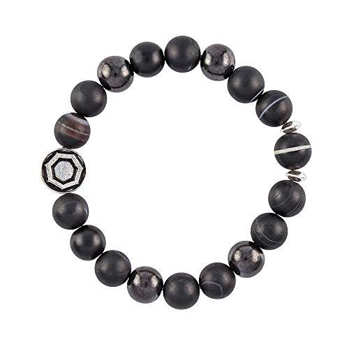 Modern ŌM Dzi Galaxy Mala Beads Bracelet for Men – Shungite for EMF Protection, Black Sardonyx, Tibetan Dzi Bead - Handmade in North Carolina - for Strength & Protection – Made to Last
