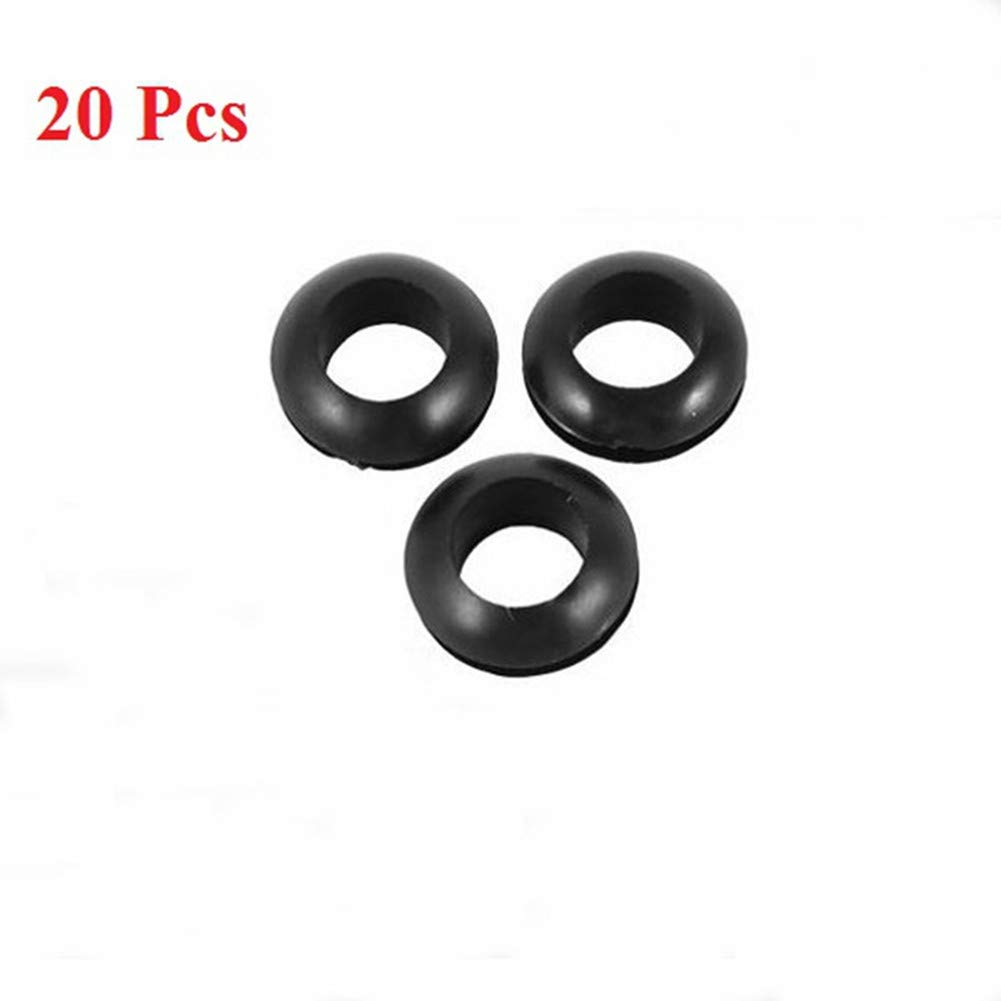 Pack of 20 Food Grade BPA-Free Fermentation Airlock Grommet for Airlock On Homebrew Beer Mead Wine Fermenter Lid in Jars and Buckets 3/8'' Center for 1/2'' hole Black