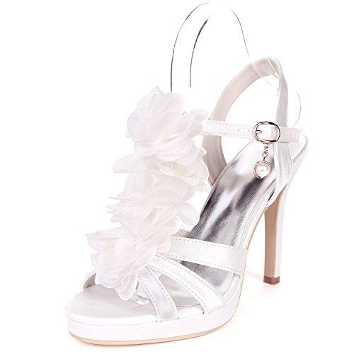 L@YC Femmes Chaussures De Mariage Peep Toes Mid Dance 11cm Talon Hauts Talons en Satin Boucle Soie Stiletto Fleurs White msZpkwj