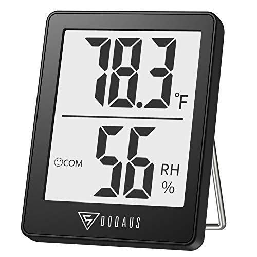 DOQAUS Digital Hygrometer Indoor Thermometer, Humidity Gauge Indicator Room Thermometer, Accurate Temperature Humidity Monitor Meter for Home, Office, Babyroom, Greenhouse, Mini Hygrometer White