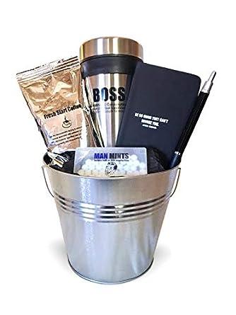 Cesta de regalos para hombres con taza y café ...