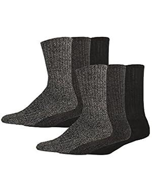 Men's Enhanced and Soft Feel Cushion Crew Socks, Black Asst, 6 Pair!