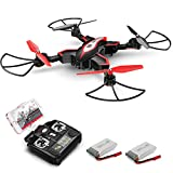 Syma X56W Drone with Camera Live Video WiFi FPV Foldable RC Drone with 2.4GHz 6-Axis Gyro Altitude Hold One Key Start Headless Mode and Extra Batteries Easy to Fly for Kids & Beginners, Black