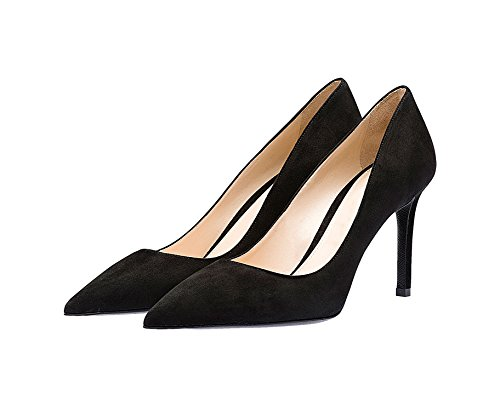 fast charm Womens Pointed Toe Large Size Shallow Stiletto High Heel Shoes Pumps Black Suede Stk9kvE