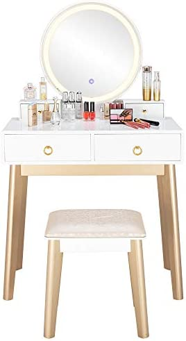 SSLine Elegant Vanity Set with Lighted Round Mirror and Cushioned Stool White Champagne Color Finish Vanity Desk Solid Wood Makeup Dressing Table w 4 Storage Drawers and Vanity Bench -Women Girls Gift