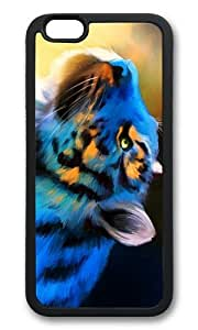 MOKSHOP Adorable blue tiger art Soft Case Protective Shell Cell Phone Cover For Apple Iphone 6 (4.7 Inch) - TPU Black