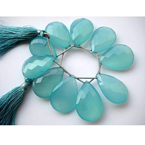 Super Quality Gemstone Beautiful Jewelry Aqua Chalcedony, Blue Chalcedony, Briolette Beads, Pear Beads, Faceted Gemstones, 20x30mm Each, 10 Pieces Code-JP-3560   B07KNR2FQ2