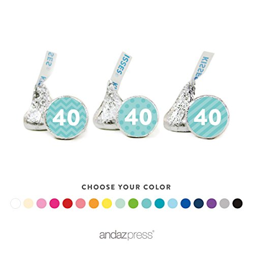 (Andaz Press Chocolate Drop Labels Trio, Milestone Collection Numbers, 40th Birthday, Anniversary, Reunion, 216-Pack, Choose Your Color, Fits Hershey's Kisses Party Favors, Decorations)