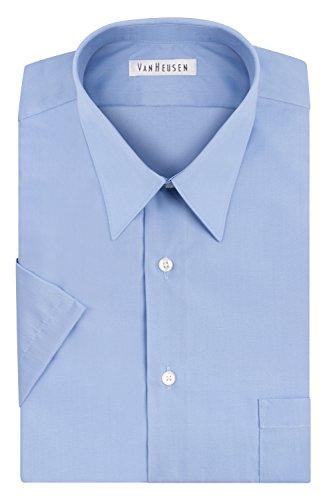 Van Heusen Men's Short Sleeve Poplin Solid Point Collar Dress Shirt, Cameo Blue, 16.5