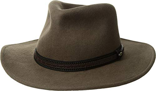 Dorfman Pacific Scala Men's Crushable Wool Outback Hat Khaki - Large