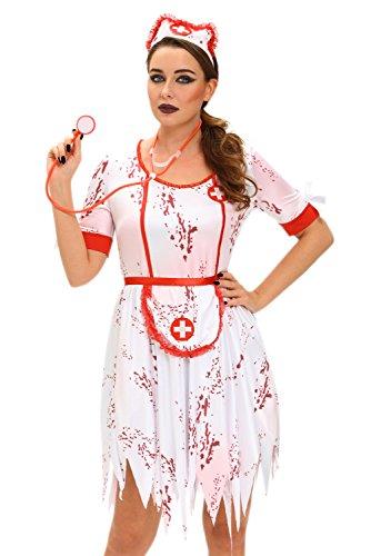 Cfanny Women's Zombie Nurse Halloween Costume,White,Small (Sexy Zombie Nurse Costume)