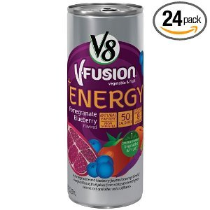 Campbell's V8 V-Fusion Vegetable & Fruit +Energy Pomegranate Blueberry Flavored Beverage Blend 48 OZ (Pack of 12)