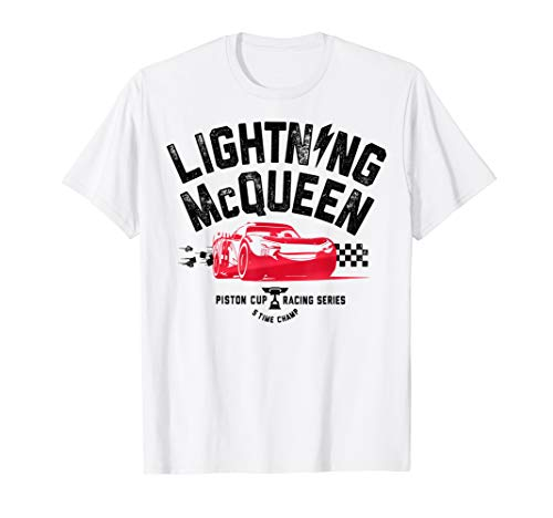 Disney Pixar Cars 3 Lightning McQueen Ready Graphic T-Shirt Car White Adult T-shirt