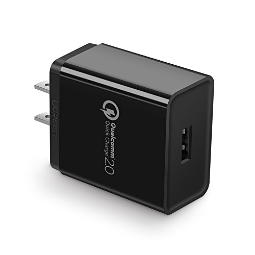 UGREEN Fast Charger Quick Charge QC 2.0 Adapter, 18W USB Wall Charger Rapid Charger Compatible for Samsung S9 S8 Plus S7 S6 Edge, Google Nexus 6, LG G4 G5, HTC One M9 (Black)