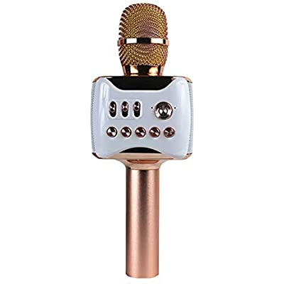 Dean Portable wireless karaoke microphone speaker  handheld portable Bluetooth home KTV player  excellent sound quality for singing and recording  compatible with Android and iOS-Rosegold
