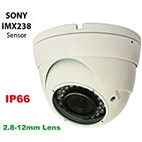 Gawker G1067PIRW 1000TVL Sony IMX238 Sensor Turret Dome CCTV camera, IP66 Weather proof, 2.8-12mm Varifocal lens, IR Smart no ghost image, DNR OSD, White color metal case, DC12V.