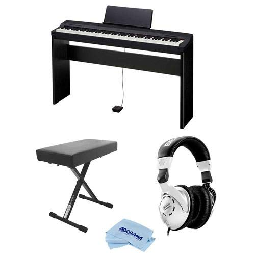 Casio Privia PX-160 88-Key Digital Piano with CS-67 Keyboard Stand, Black - Bundle With Behringer HPS3000 High-Performance Studio Headphones, On-Stage Deluxe X-Style Keyboard Bench, Fiber Cloth by Casio