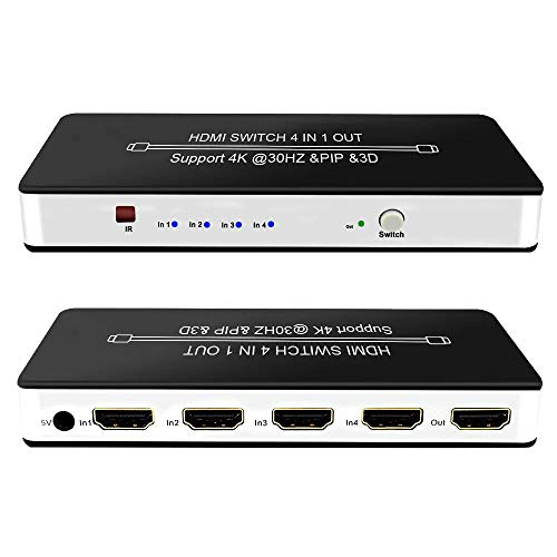 HDMI Switch, 4 Port HDMI Switch with PIP and IR Wireless Remote Control, Support 4K, 1080P, 3D for Fire TV Stick, Xbox one, PS3/PS4, ROKU, Laptop, Apple TV and DVD Players and Other HDMI Devices (Best Hdmi Switch For Full 1080p)