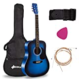 Sonart 41' Full Size Beginner Acoustic Guitar, Professional Customization Smooth Mirror Structure Steel String W/Case, Shoulder Strap, Pick, Extra Strings for Kids, Starters, Blue