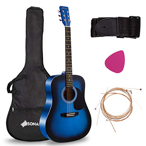 "Sonart Full Size Acoustic Guitar, 41"" Wooden Structure Steel String W/Case, Shoulder Strap, Pick, Extra Strings for Beginners, Starters, Blue"