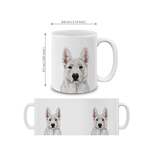 MUGBREW Cute White German Shepherd Dog Full Portrait Ceramic Coffee Gift Mug Tea Cup, 11 OZ 4