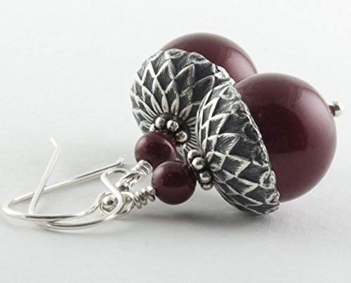 Acorn Drop Earrings (Acorn Earrings with Bordeaux Simulated Pearls from Swarovski, Sterling Silver Earwires)