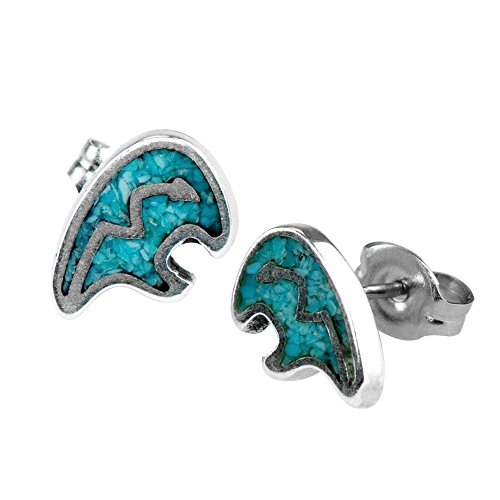 - 925 Sterling Silver Heartline Bear, Turquoise Inlay Earrings Charm Gem Stone