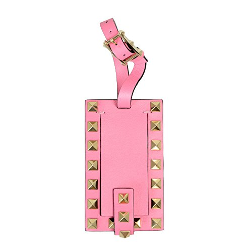 Valentino Garavani Unisex Pink Rockstud Leather Fashion Luggage Tag by Valentino Garavani (Image #1)