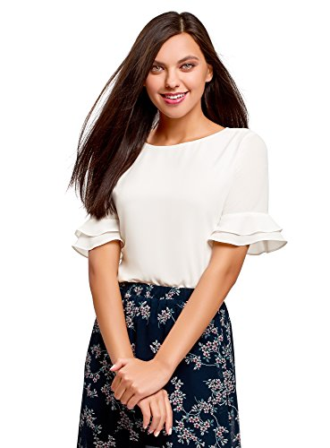 oodji Ultra Women's Relaxed-Fit Blouse with Flounce Sleeves, White, 2