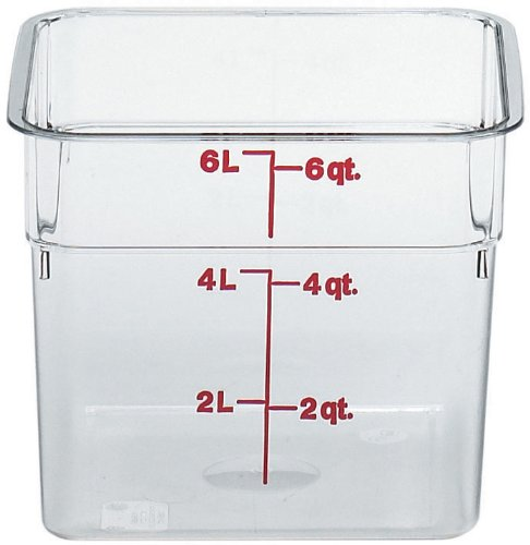 (Cambro 6SFSCW135 Camsquare Food Container, 6-Quart, Polycarbonate, Clear, NSF)