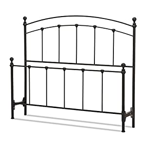 Fashion Bed Group Sanford Complete Metal Bed and Steel Support Frame with Castings and Round Finial Posts, Matte Black Finish, Queen