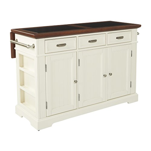 Bassett Farmhouse Basics Kitchen Island with Vintage Oak Solid Hardwood Top with Inlaid Granite, Distressed White Finish