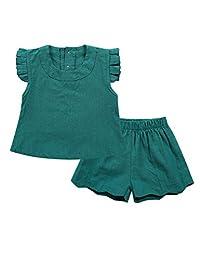 Toddler Baby Girls Cute Ruffle T-Shirts Tops and Shorts 2pcs Clothing Set