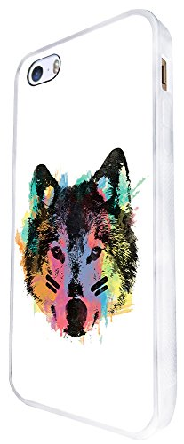 1489 - Cool Fun Trendy Wolf Colourful Animals Wildlife Woods Whimsical (2) Design iphone SE - 2016 Coque Fashion Trend Case Coque Protection Cover plastique et métal - Blanc