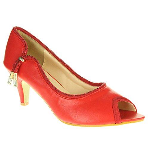 Frau Damen Abend Hochzeit Party Abschlussball Braut Beiläufig Peep Toe Mitten Kätzchen Ferse Sandalen Schuhe Größe Hellrot