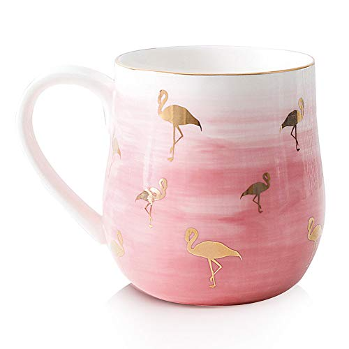 15 oz Coffee Mugs, Smilatte M105 Flamingo Pattern Porcelain Cup for Latte Cappuccino Tea Hot Cocoa Girl Lover Girlfriend,Pink