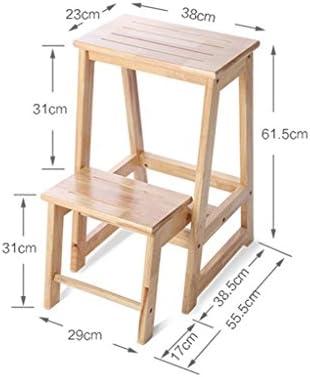 KLEDDP Folding Step Stool Multi-purpose Ladder, Rubber Wood, Wood Color, 38x55.5x61.5cm Step stool