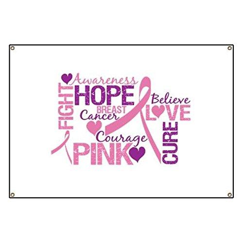 CafePress Breast Cancer Words Vinyl Banner, 44