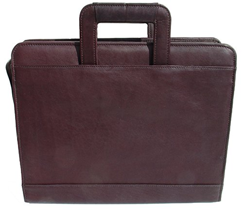 Piel Leather Three-Ring Binder with Handle Brown