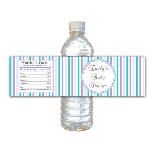 30 Waterproof Water Bottle Labels Personalized Purple Teal Lavender Stripes Lines Design Baby Shower Party Favor Gift Idea