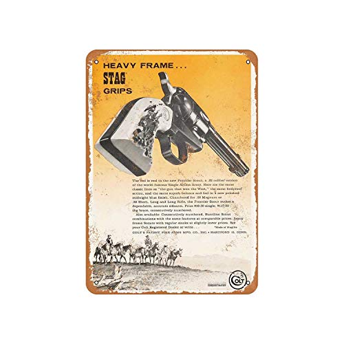 Fhdang Decor Vintage Pattern 1962 Colt Frontier Scout Revolver Vintage Look Metal Sign Aluminum Sign,6x9 Inches ()