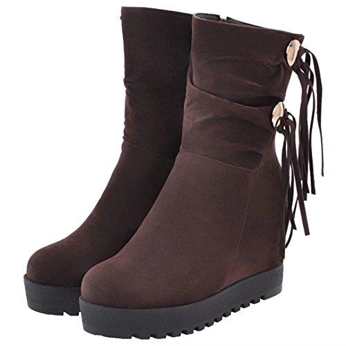 Aiyoumei Kvinna Dragkedja Höjd Ökande Kilar Vinter Tofs Boots Bruna