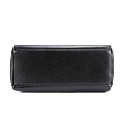 Bag Genuine Women's Hobo Tote Black Leather with Tassel Shoulder Kattee gAvwYqY
