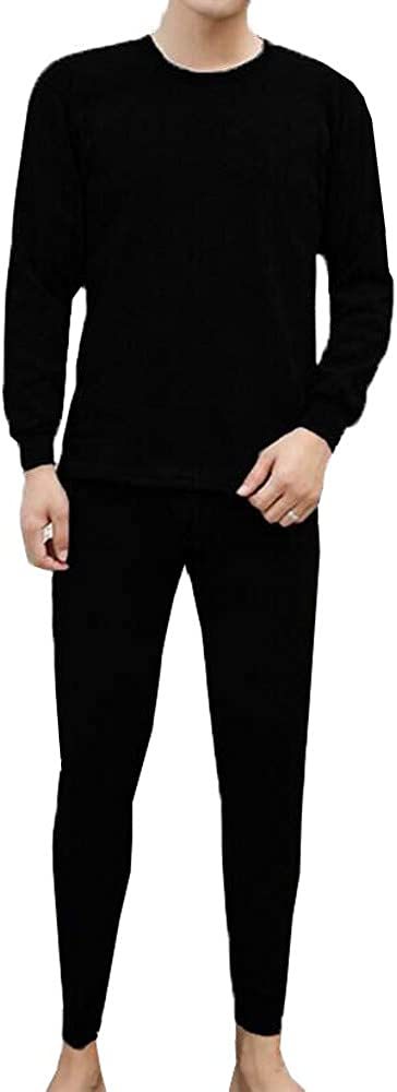 Fxbar,Mens Winter Thermal Underwear Suit Solid Color Cozy Tracksuits for Men