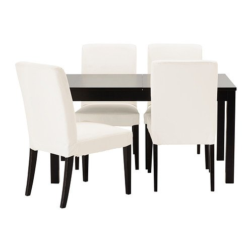 Ikea Table and 4 chairs, brown-black, Gräsbo white 18204.292320.3014